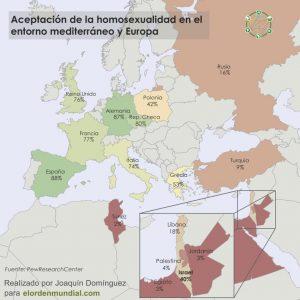 mapa entorn mediterrani i Europa acceptació homosexualitat.