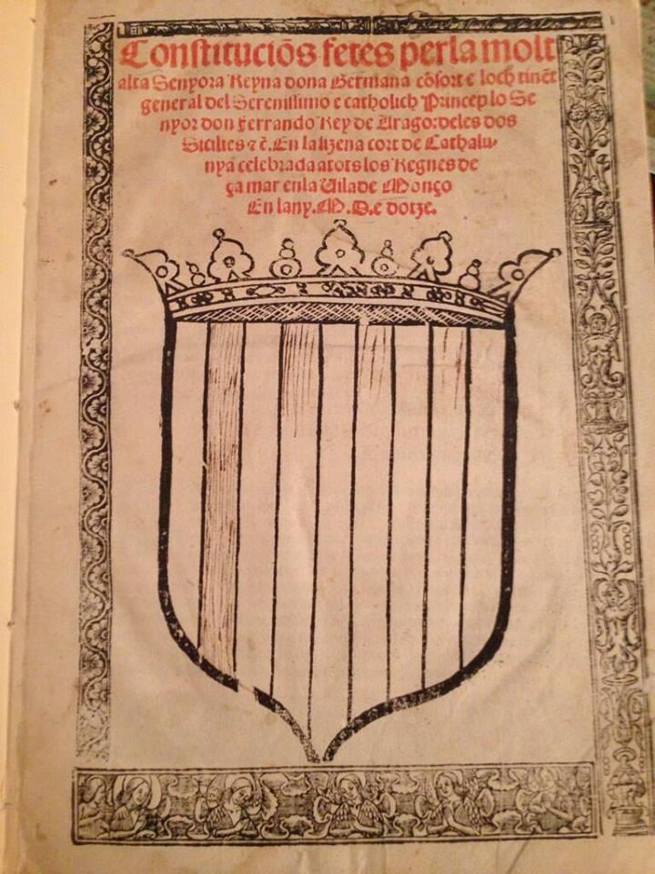 portada constitución catalana 1512 con mencion a la reina Germana de Foix esposa de Ferran